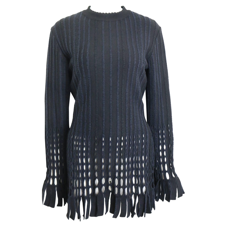 90s Alaia Black and Navy Stripe Wool Open Knit Fringe Hem Bodycon Dress