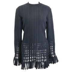 Alaia Black and Navy Stripe Wool Open Knit Fringe Hem Bodycon Dress