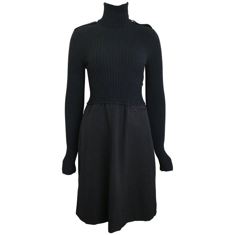 Gucci by Tom Ford Black Bi Fabrics Long Sleeves Turtleneck Dress