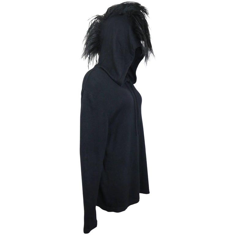 Helmut Lang Black Wool Hoodie with Faux Hair
