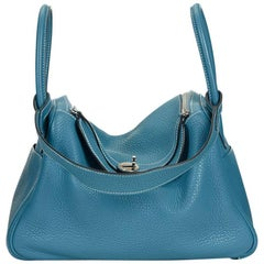 2010 Hermes Blue Jean Clemence Leather Lindy 30