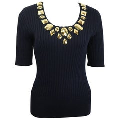 Escada Black Cotton Gold Toned Charms U Neck Short Sleeves Top