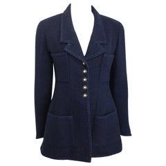 Chanel Dark Navy Boucle Wool Jacket