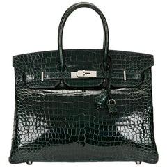 2007 Hermes Vert Fonce Porosus Crocodile Birkin 35cm