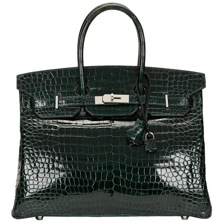 2007 Hermes Vert Fonce Porosus Crocodile Birkin 35cm 1