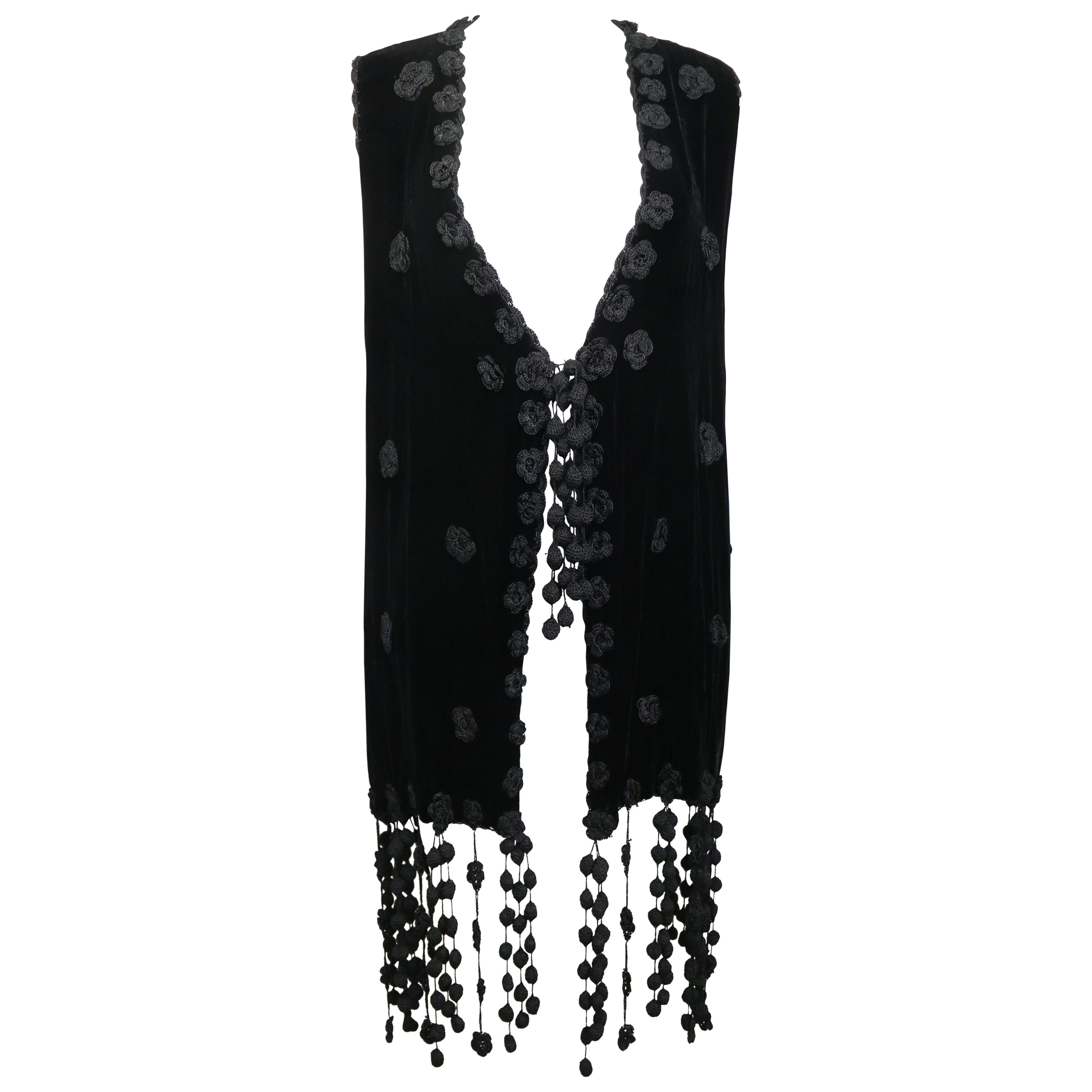 Cheap and Chic by Moschino Black Velvet and Knitted Flower Embroidered Long Vest