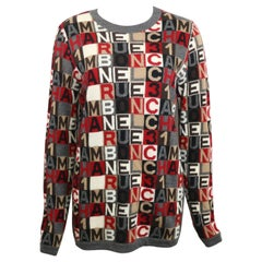 Chanel Grey Cashmere Crossword Puzzle Pullover Sweater