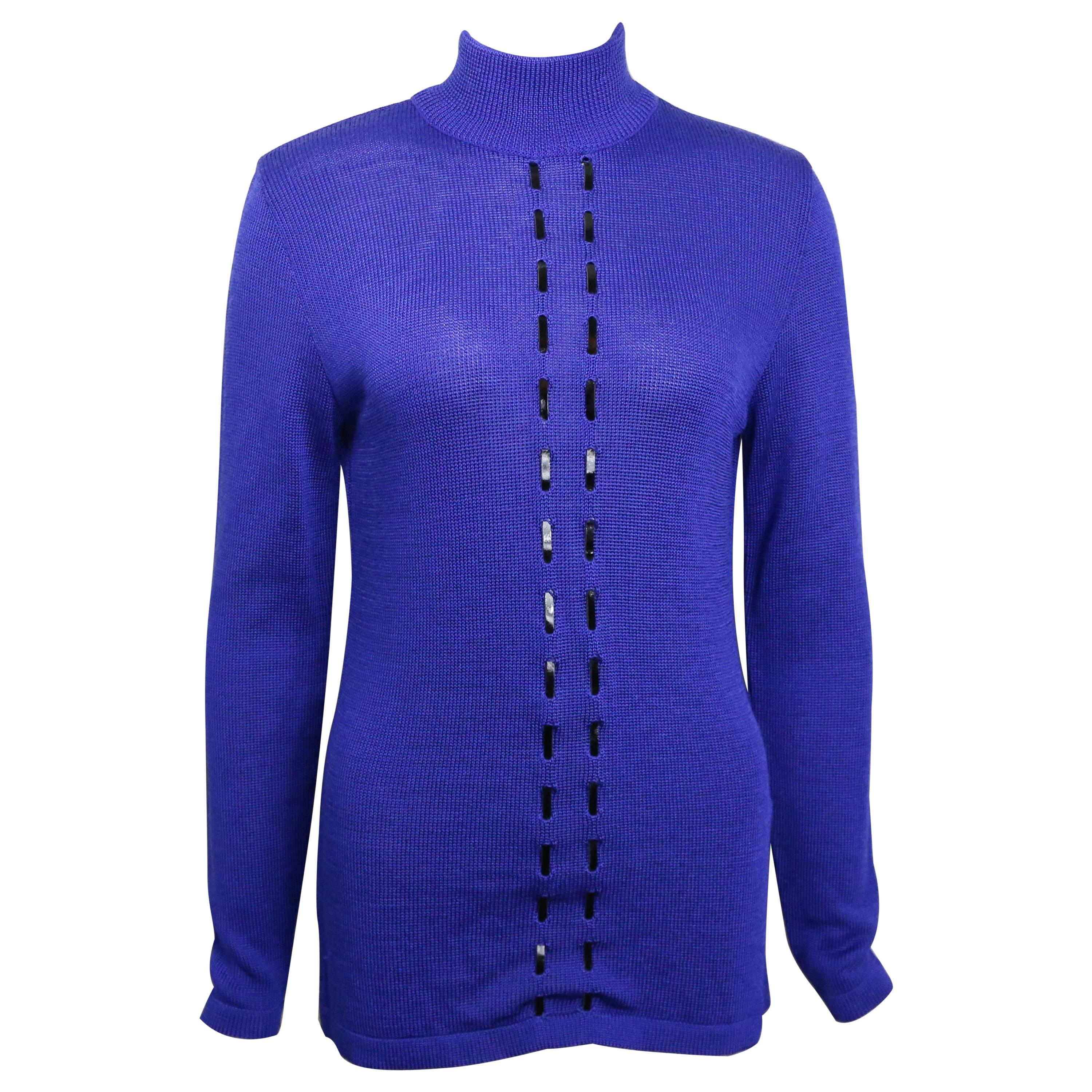 Vintage Claude Montana Blue Wool Patent Leather Trim High Neck Pullover Sweater