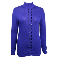 Claude Montana Blue Wool Patent Leather Trim High Neck Pullover Sweater