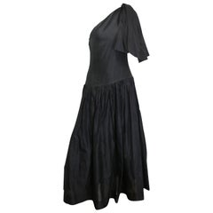 Chanel Black Silk Taffeta One Shoulder Evening Gown (Museum Quality)