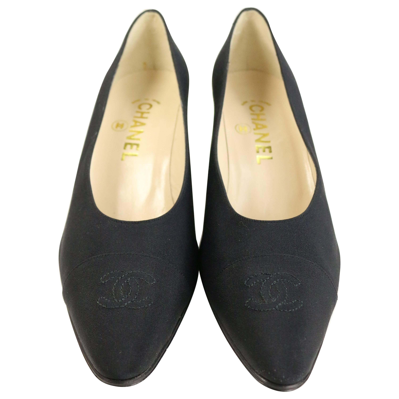 "Vintage 90s Chanel Classic Black Silk ""CC"" Heels Shoes"