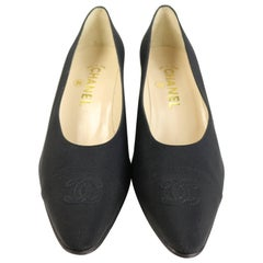 "Chanel Classic Black Silk ""CC"" Heels Shoes"