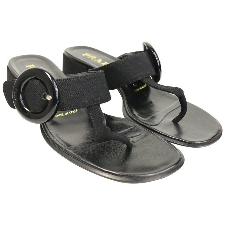 Prada Black Retro Style T - Shape Sandals  For Sale