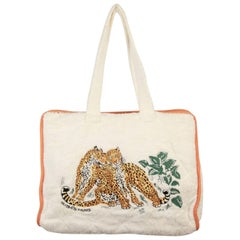 HERMES PARIS White Terry Cloth Cotton BEACH BAG w/ Embroidered Tiger