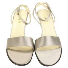 Vintage 90s Prada Silver Satin Strap Slingback Sandals Heels