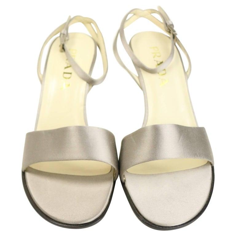 Prada Silver Satin Strap Slingback Sandals Heels For Sale