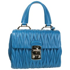 Miu Miu Blue Matelasse Nappa Leather Shoulder/Hand Flap Bag
