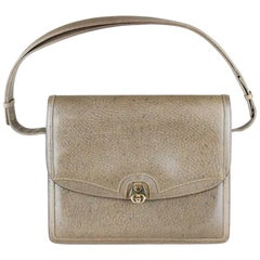 Gucci 1970s Taupe Brown Leather Shoulder Bag