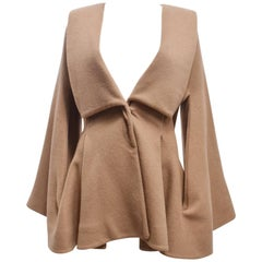 Alexander McQueen Camel Cashmere Coat with Connected Bell Sleeves