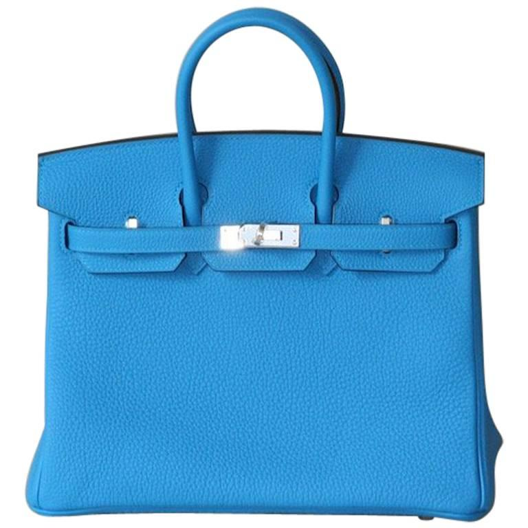 HERMES BIRKIN Zanzibar Blue 25' For Sale