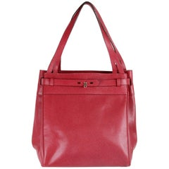 VALEXTRA MILANO Burgundy Leather B CUBE Bag TOTE