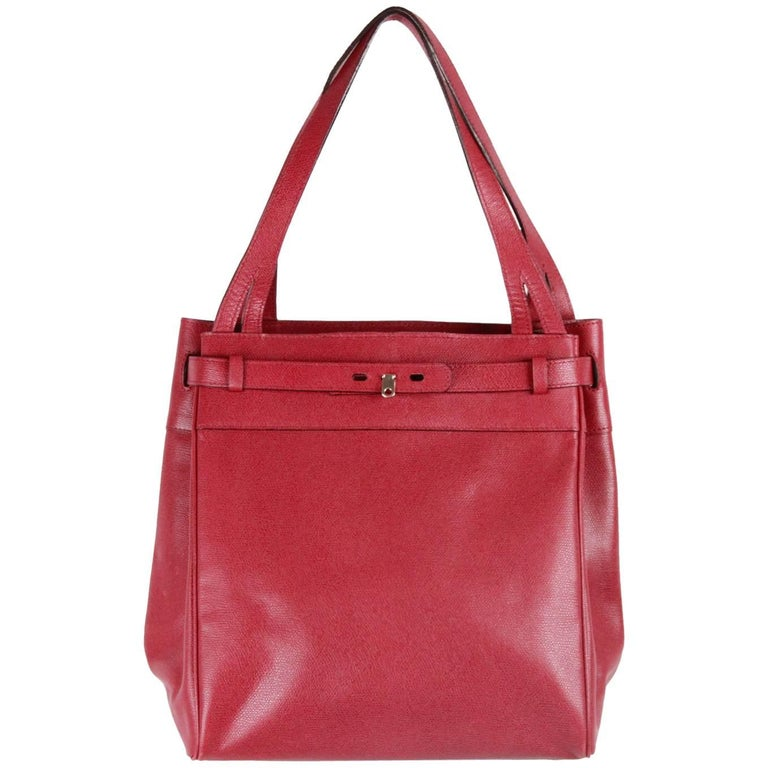 VALEXTRA MILANO Burgundy Leather B CUBE Bag TOTE 1