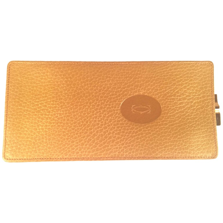 New Vintage Cartier Etui Sunglasses Case Gold & Genuine Leather  For Sale