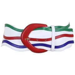 Yves Saint Laurent 1980s Wave-Shaped White Green Red Blue Leather Waist Belt