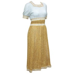 Dazzling 1960's Mr. Mort by Stan Herman Gold & Silver Lamé Dress