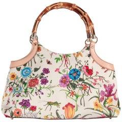 GUCCI Flora Canvas TOTE Handbag w/ BAMBOO Handle