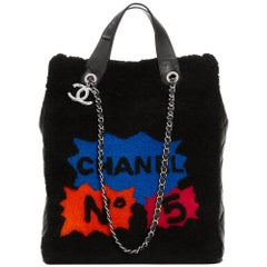 2014 Chanel Black Shearling Patchwork Tote