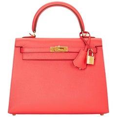 2016 Hermes Rose Jaipur Epsom Leather Kelly 25cm Sellier