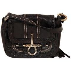 GUCCI Black Leather SNAFFLE BIT Small CROSSBODY BAG