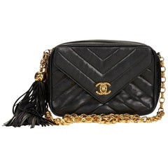 1990s Chanel Black Chevron Quilted Lambskin Vintage Camera Bag