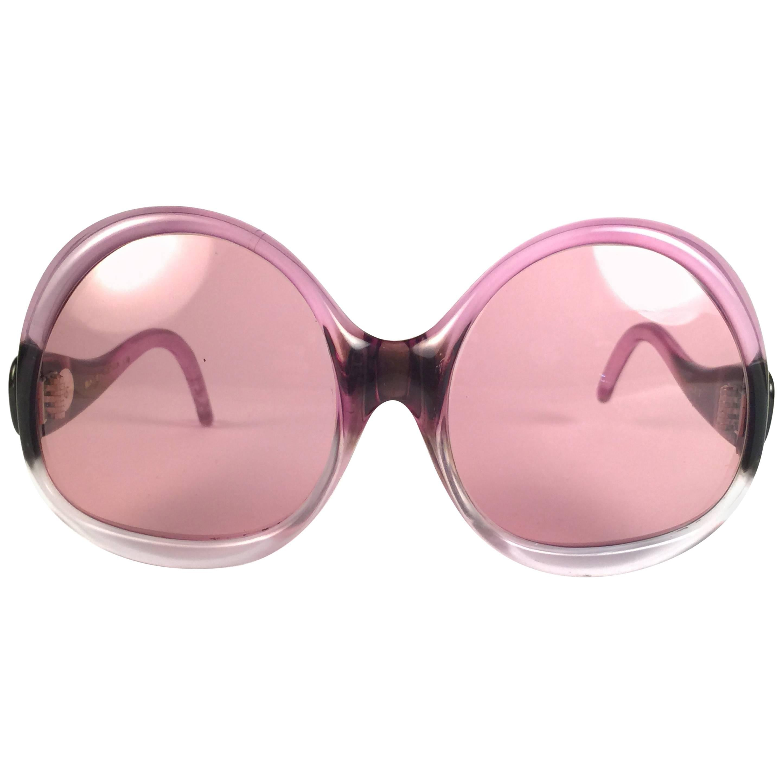 New Vintage Balenciaga Clear & Magenta Sunglasses 1970's