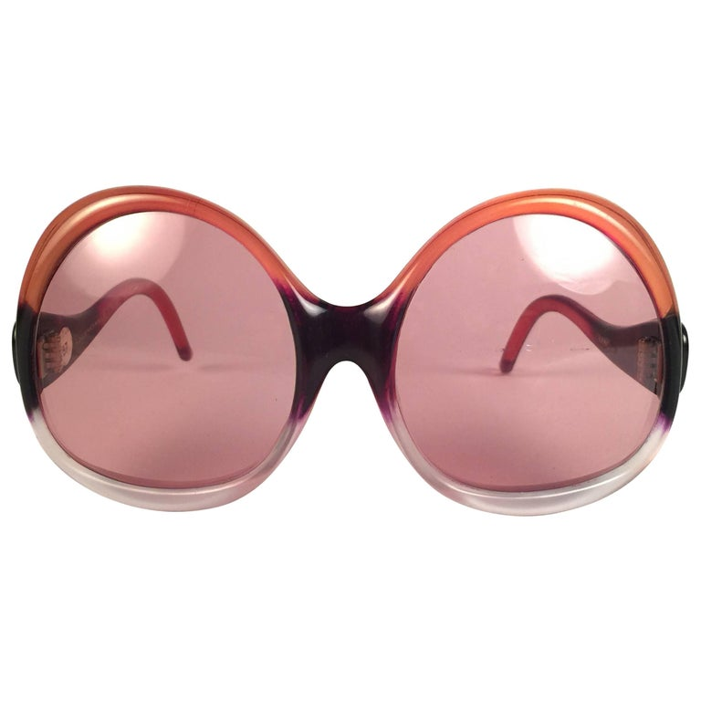 New Vintage Balenciaga Clear & Orange Ombre Sunglasses 1970's