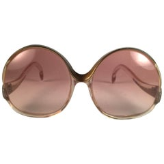 Mint Vintage Balenciaga Clear & Gold Oversized Sunglasses 1970's