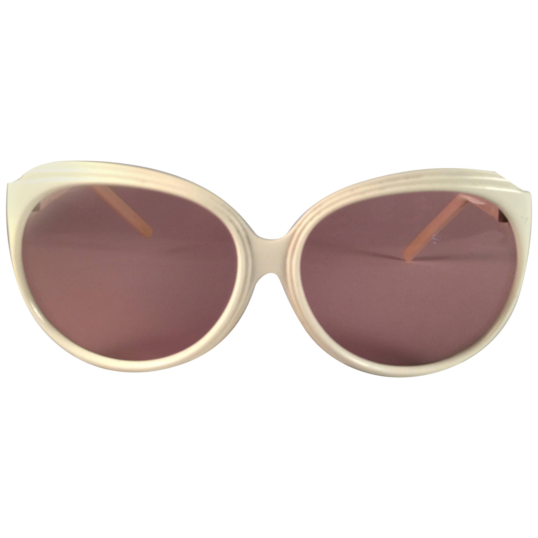New Vintage Balenciaga White Oversized 1970's Sunglasses