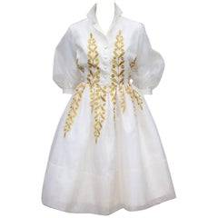 Ladylike 1950's Jr. Theme Embroidered White Silk Organza Dress