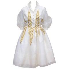 Ladylike 1950's Jr. Theme Embroidered White Silk Organza Dress