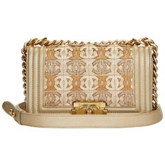2015 Chanel Light Gold Metallic Lambskin Interwoven CC Small Le Boy Bag