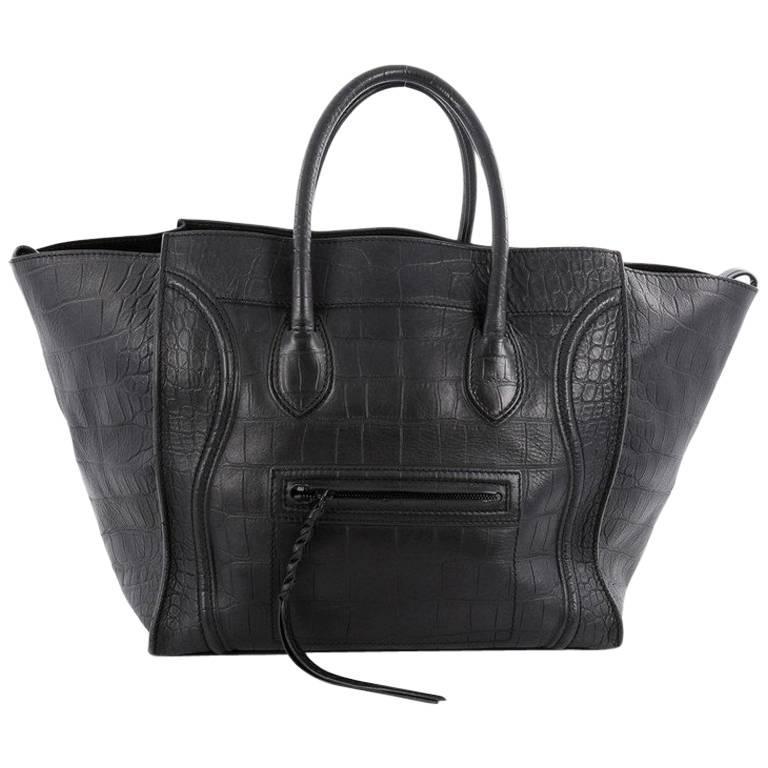 Celine Phantom Handbag Crocodile Embossed Leather Large For
