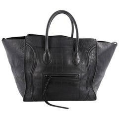 Celine Phantom Handbag Crocodile Embossed Leather Large