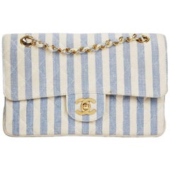 1990s Chanel Ivory & Blue Striped Linen Vintage Small Classic Double Flap Bag