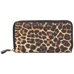 YSL Brown Leopard Print Nylon Wallet