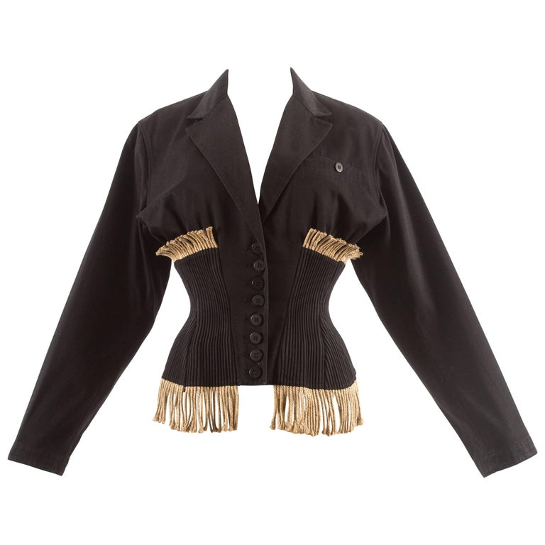 Alaia Spring-Summer 1988 corset-jacket with rope fringe
