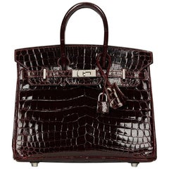 2008 Hermes Bordeaux Shiny Niloticus Crocodile Leather Birkin 25cm