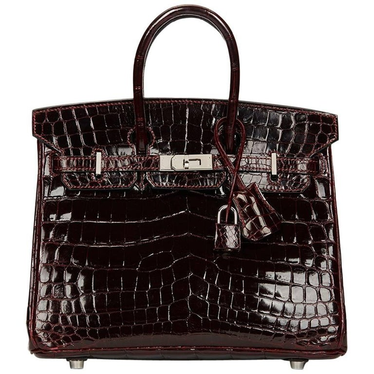 2008 Hermes Bordeaux Shiny Niloticus Crocodile Leather Birkin 25cm For Sale