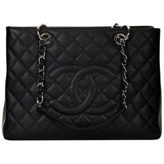 2013 Chanel Black Quilted Caviar Leather Grand Shopping Tote GST
