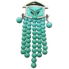 Exotic Glass Beaded Asian Theme Figural Brooch c 1980s
